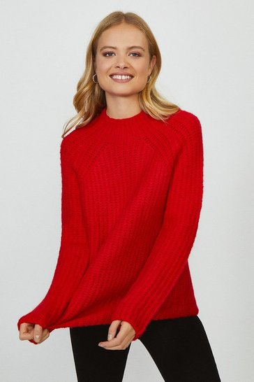Orange Crew Neck Knitted Oversized Jumper