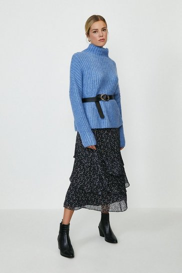 Blue High Neck Knitted Jumper