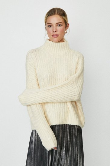 Cream High Neck Knitted Jumper