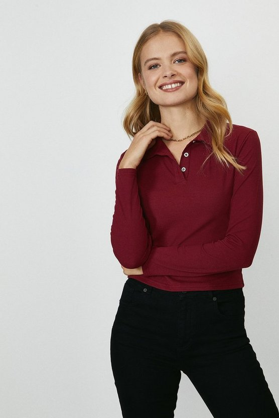 Berry Button Jersey Polo Top