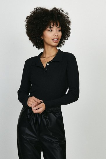 Black Button Jersey Polo Top