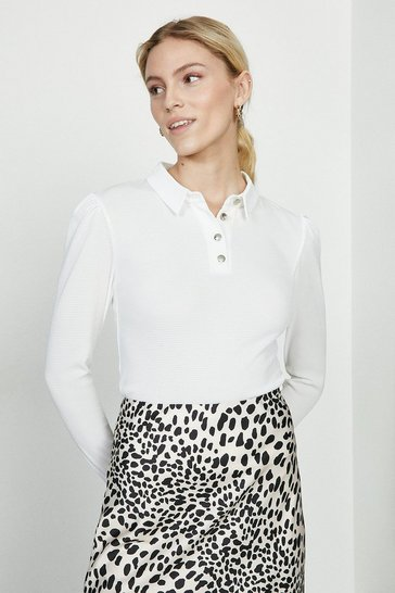 Ivory Button Jersey Polo Top