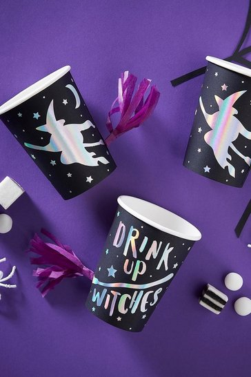 Black Ginger Ray Halloween Foiled Party Cups