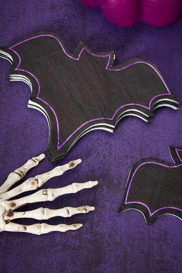 Black Ginger Ray Halloween Foiled Bat Party Napkins