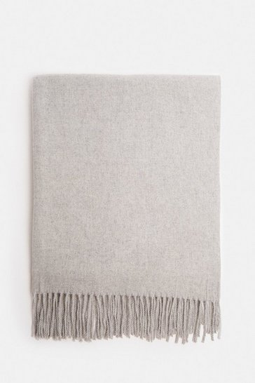 Grey Soft Tassel Scarf