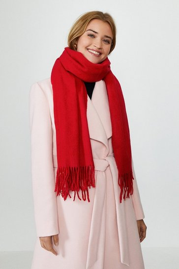 Red Soft Tassel Scarf