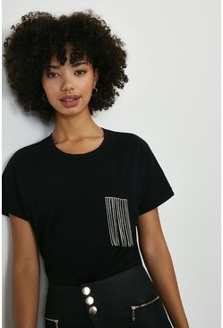 Black Diamante Trim Pocket Tshirt