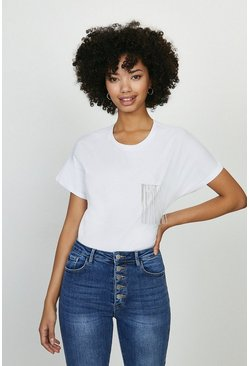 White Diamante Trim Pocket Tshirt