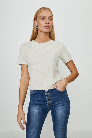 Stone Wide Rib Pearl Detail Top