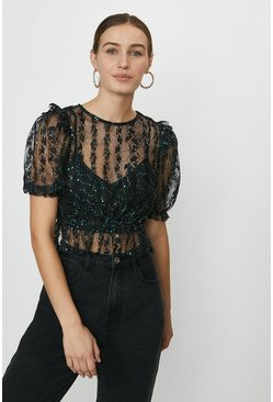 Black Lace Puff Sleeve Embellished Top