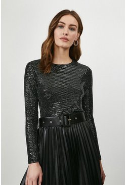 Black Shimmer Long Sleeve Jersey Top