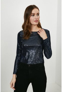 Navy Shimmer Long Sleeve Jersey Top