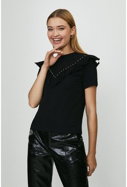 Black Ruffle And Stud Front T-Shirt
