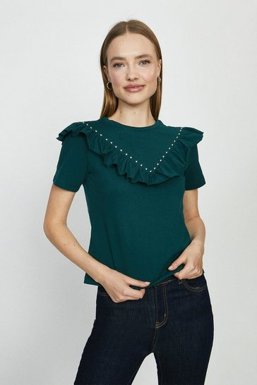 Forest Ruffle And Stud Front T-Shirt