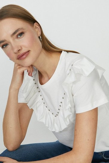 White Ruffle And Stud Front T-Shirt