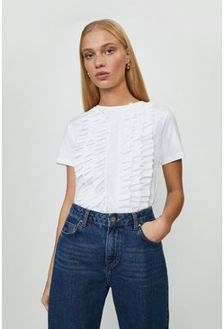 White Ruffle Detail Front T-Shirt