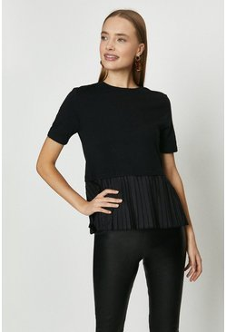 Black Pleated Peplum Hem Top