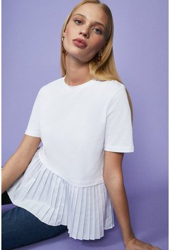 White Pleated Peplum Hem Top