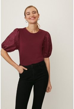Berry Gem Detail  Puff Sleeve Top