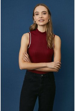 Berry Diamante Trim High Neck Top