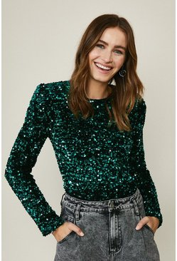Teal Sequin Long Sleeve Top