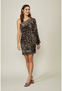 Bronze Sequin One Shoulder Dress