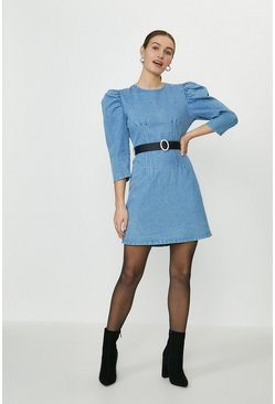 Blue Puff Sleeve Fitted Denim Mini Dress