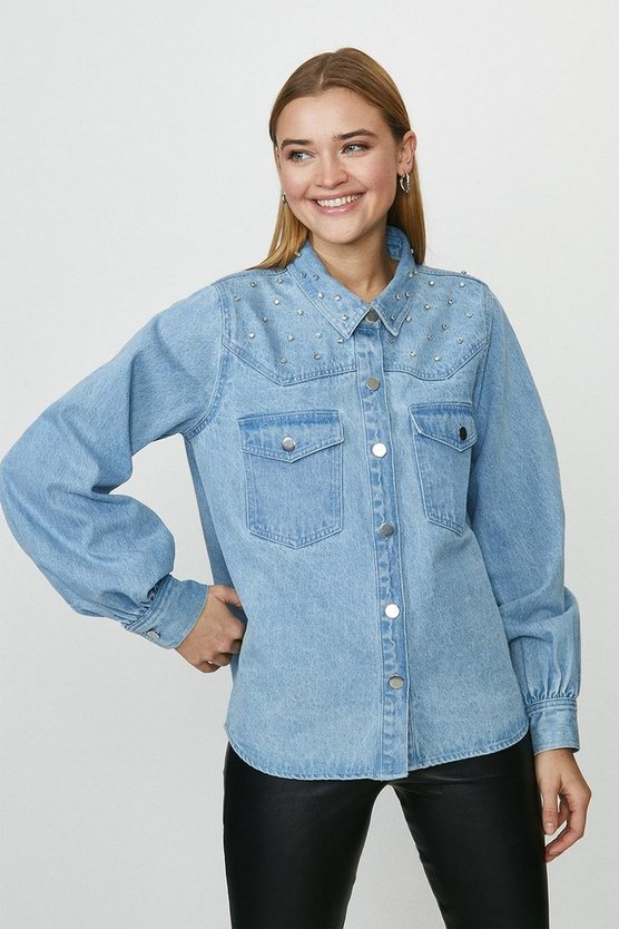 Blue Gem Embellishment Balloon Sleeve Denim Shirt