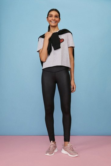 Black Wet Look Sports Leggings