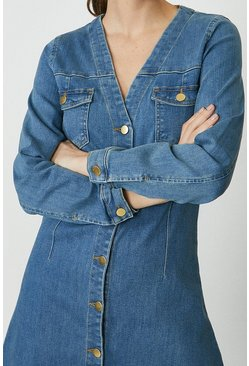 Blue Button Through Long Sleeve Denim Dress