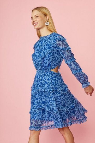 Blue Printed Ruffle Dress