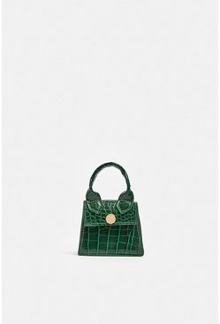 Green  Croc Micro Mini Chain Bag