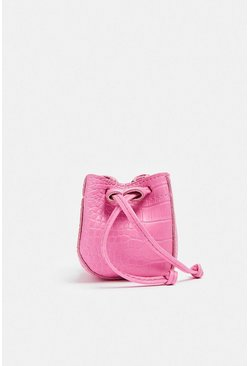 Hot pink Mini Chain Bucket Bag
