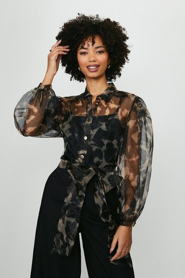 Animal Printed Organza Long Sleeve Top