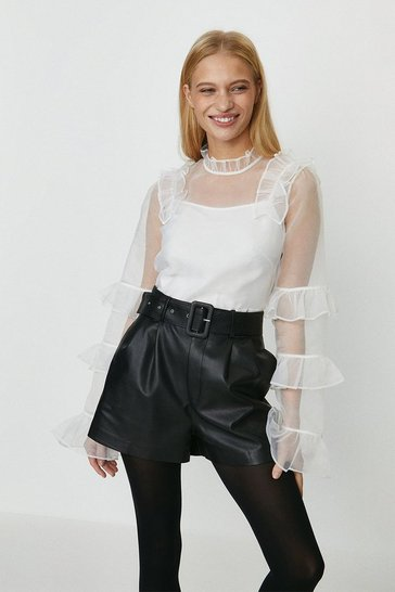 Ivory Organza Mesh Ruffle Long Sleeve Top