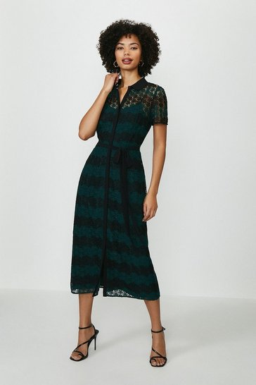 Forest Striped Mono Lace Shirt Dress