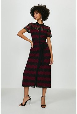Merlot Striped Mono Lace Shirt Dress