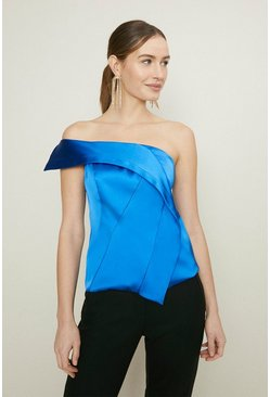 Blue One Shoulder Corset Top