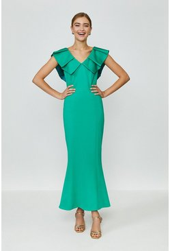 Green Frill Neck Full Length Dress