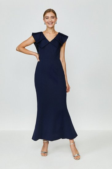 Midnight Frill Neck Full Length Dress