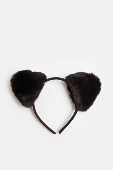 Black Halloween Faux Fur Cat Ears