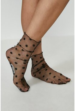 Black Polka Dot Sheer Socks