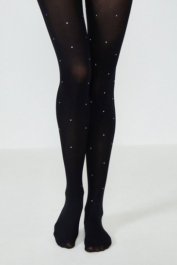 Black Diamante Sheer Tights
