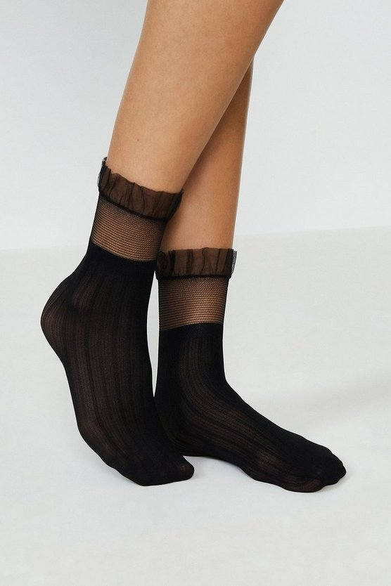 Black Sheer Frill Socks