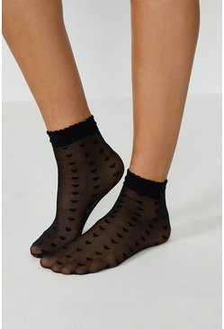 Black Heart Print Sheer Socks With Frill