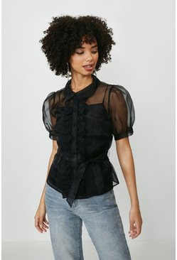 Black Organza Puff Sleeve Button Up Blouse