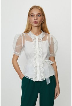 Ivory Organza Puff Sleeve Button Up Blouse