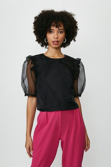 Black Organza Puff Sleeve Blouse