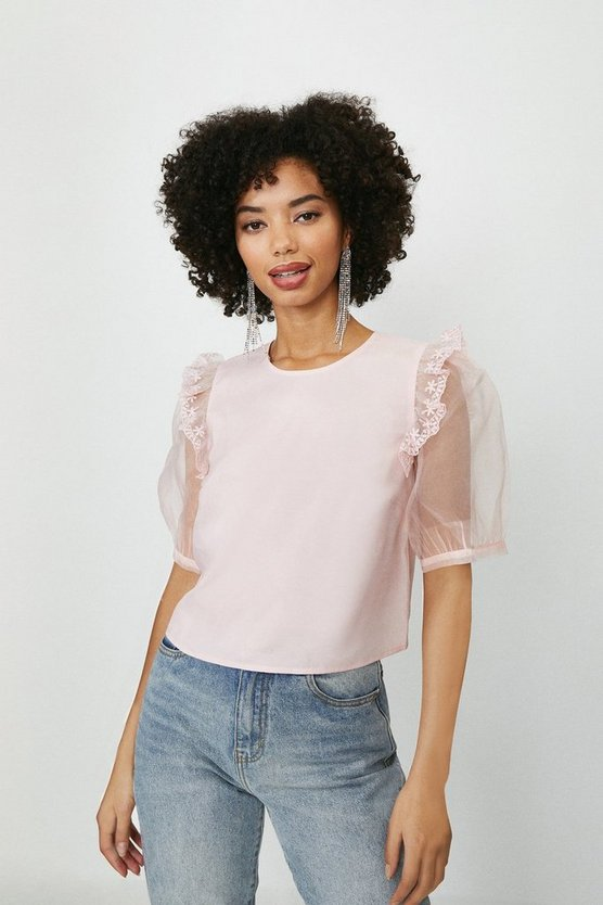 Blush Organza Puff Sleeve Blouse