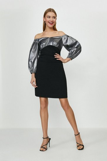 Black Metallic Bardot Puff Sleeve Dress
